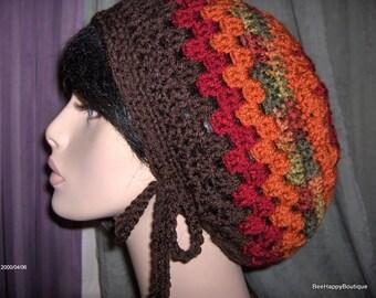 SALE Slouchy Hat Mens Womens Brown Red Rasta Dreads Slouchy Hat Dreadlocks Slouchy