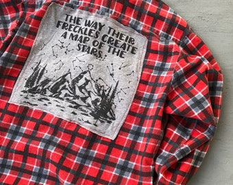 90s Grunge Flannel Plaid Freckles  // Punk Recycled 90s Flannel // Freckles Stars Map Shirt