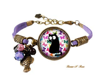 Bracelet black cat and Butterfly multicolored accessory purple gift Christmas