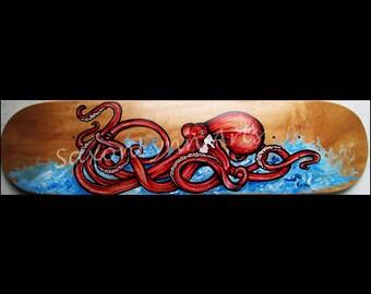 Octopus Painting | Surf Art | Red Octopus | Custom Skateboard | Octopus Art | Squid | Sea Animals | Skateboard Decor | Octopus Wall Art