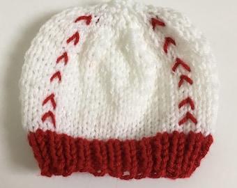 Newborn Baseball Hat,  Knit Baseball Hat, Newborn Knit Baseball Hat,  Knit Newborn Hat, Newborn Photography Prop, Baby Shower Gift
