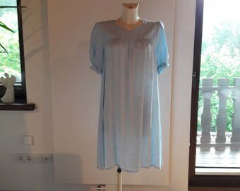 60s light blue patterned nightgown chemise with gathered sleeves