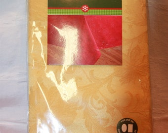 New Old Stock Holiday Joy Gold Tablecloth 60 x 104 Oblong