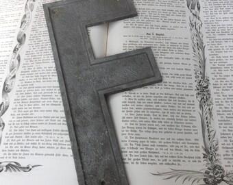 Vintage large industrial marquee sign letter - Letter F - Vintage Aluminum Letter - Salvaged metal sign letter -