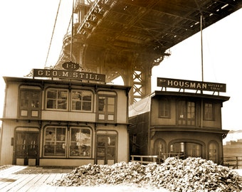 "1937 Oyster Houses, New York City, NY Vintage Photograph 8.5"" x 11"" Reprint"