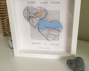 Love Heart Map Frame
