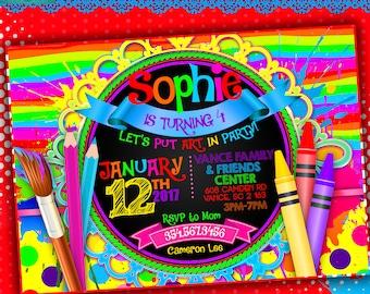 Paint Party Digital Printable Invitation, Paint Party Invitation, Paint Party Invite, Crafts Party Invitation, Art Party Invitation
