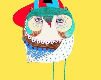Cool Hat Owl. Nursery decor - kids wall art - children's decor - baby room art - baby decor - art print.