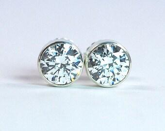 8 mm Cubic Zirconia Earrings / CZ Stud Earrings / April Birthstone Silver Earrings / CZ Sterling Silver Post Earrings / Large Stud Earrings