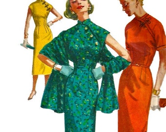 1950s Simplicity 1447 Junior Misses Stole and Cheongsam Oriental Sheath Dress Pattern Womens Vintage Sewing Pattern Size 13 Bust 31