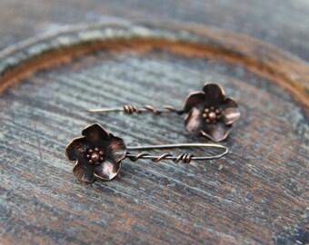 "Mixed metal flower earrings, sterling silver and copper ""Buttercup"" earrings,  rustic floral dangle earrings, metalwork, silver 925,"