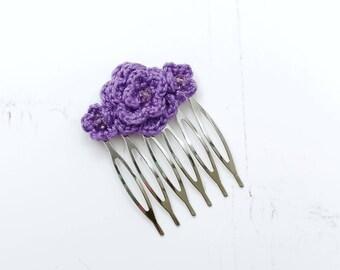 Bridal bridesmaid flower hair comb, boho wedding hair accessories, crochet rose hair slide
