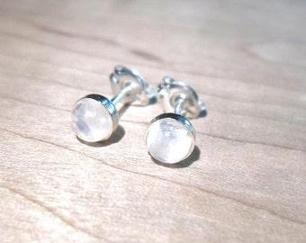Moonstone Studs, Rainbow Moonstone Stud, moon Earrings, 925 Sterling Silver studs, Moonstone Posts, Moonstone jewelry, Moon studs