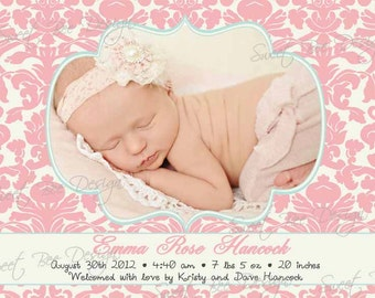 Birth Photo Announcement , Baby Announcement , Baby Photo Announcement - Damask