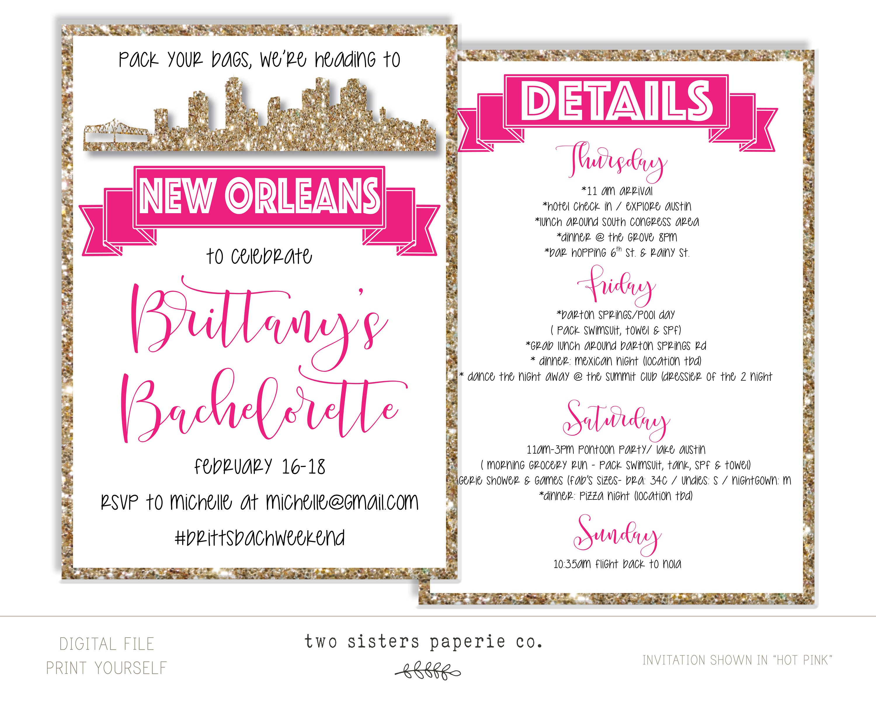 New Orleans Bachelorette Party Glitter Invitation and