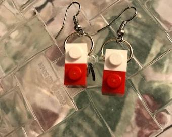 Red & White LEGO Dangly Earrings