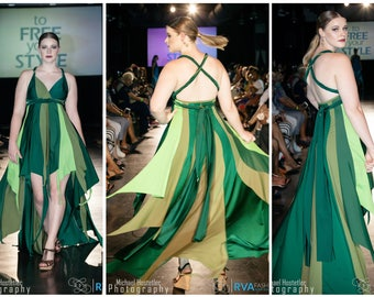 Pixie dress in greens, fairy dress, one of a kind, OOAK, forest pixie, green fairy, flutter dress, prom dress, pageant dress, high-low dress