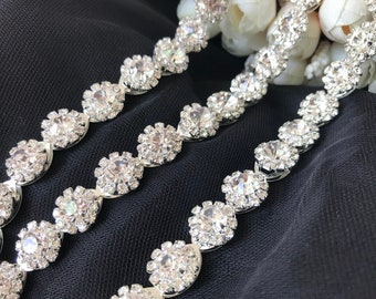 Crystal Rhinestone Trim Bridal Trim for Headbands, Sash, Gowns, Bridal Hair comb