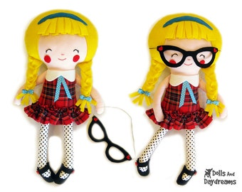 Schoolgirl Sewing Pattern PDF - Removable Doll Glasses and shoes included - Plus Glasses will fit your children too