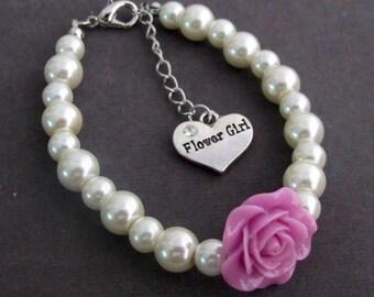 Flower Girl Charm Bracelet,  Lilac Rose Flower, Rose Flower Jewelry, Will You Be My Flower Girl, Child Pearl Bracelet, Free Shipping In USA