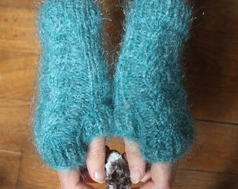 Knitted with pattern twisted - women blue mittens