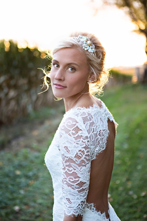 Keyhole back wedding dress in corded french lace illusion like this item junglespirit Images