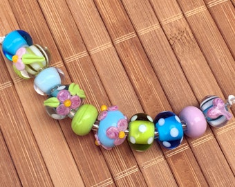 FUN Turquoise, Pink, and Lime Green--HANDMADE Lampwork Beads