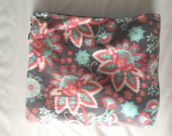 Floral on Gray Fleece Blanket - Extra Large