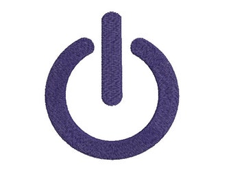 Machine Embroidery Design Instant Download - Computer Power Symbol