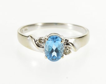 14K Three Blue Topaz Diamond Accented Ring Size 6.5 White Gold