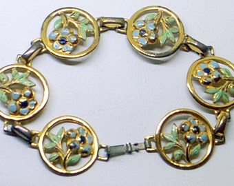 Vintage Sterling Enamel Bracelet - Corocraft Sterling - Coro - Gold Over Sterling Silver - Blue Flowers - Green Leaves - Excellent - Signed