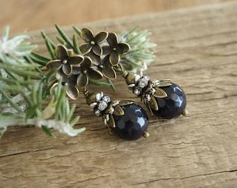 "Bohemian ""Violet Midnight"" Stud Earrings, Floral Boho Chic Romantic Rustic Amethyst Crystal Beaded Earrings Jewelry Bridesmaid Womens Gift"