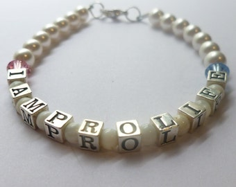 Jewelry - Pro Life Bracelet in Beautiful Sterling Silver - Beauty with a Message
