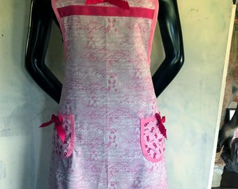 Women's apron, breast cancer awareness print, hand made, cotton, hand made apron, print apron, apron with pocket