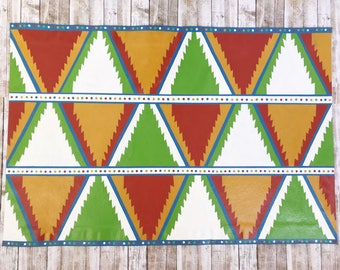 Aztec Pattern Floorcloth, Hand Painted Canvas Rug, Funky Decor, Floor Cloth