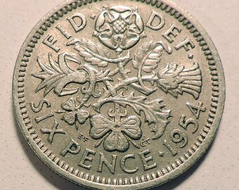 1954 Sixpence Coin for the Brides Shoe