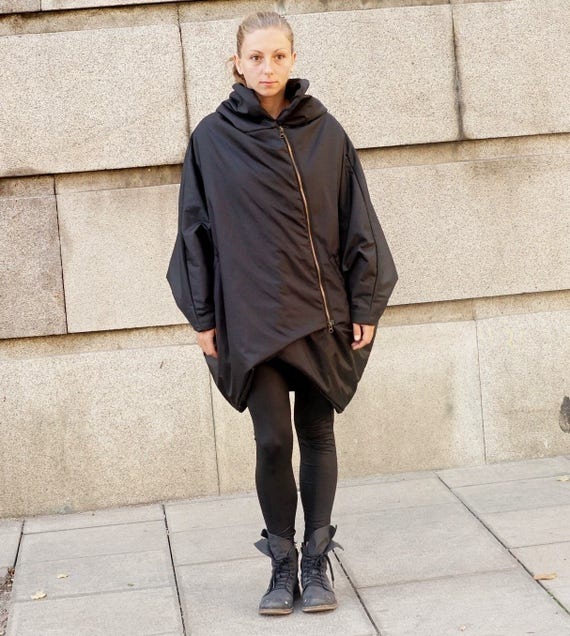Flattering Winter Oversized Coat Parka, Hooded Waterproof Windproof Coat, Extravagant Asymmetrical Warm Jacket, Padded Black Cocoon Hoodie