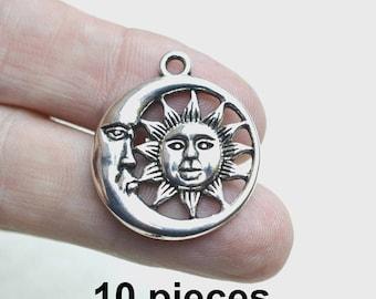 Sun Moon pendant, silver celestial pendant, 10 pieces, ch401, antique silver pendants, necklace pendants