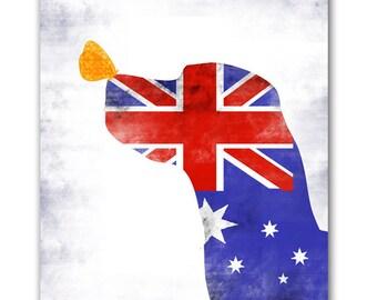 Australian Labrador Retriever Dog in stripes and stars - Fine art print, wall decor, Australia flag, illustration