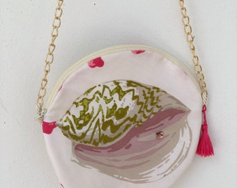Pink & Green Coral Round Purse ( Conch)