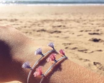 Dainty tassels bracelet / light pink / sterling silver / seed bead bracelet