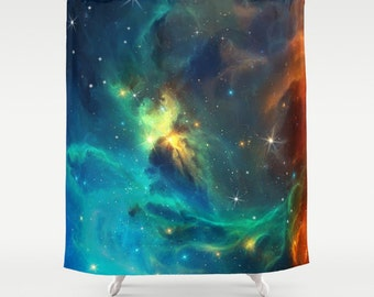 Space Shower Curtain Turquoise Space Curtain Turquois curtain Galaxy Curtain Nebula Curtain Stars Planets Blue Curtain Home decor 66x72 inch