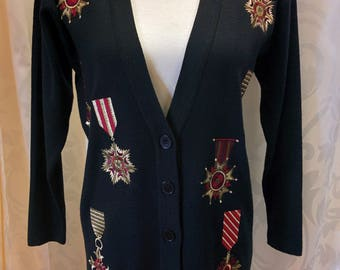 Vintage JNY Lambswool 80s Military themed Cardigan Sweater 1980s Jones New York Sz Petite