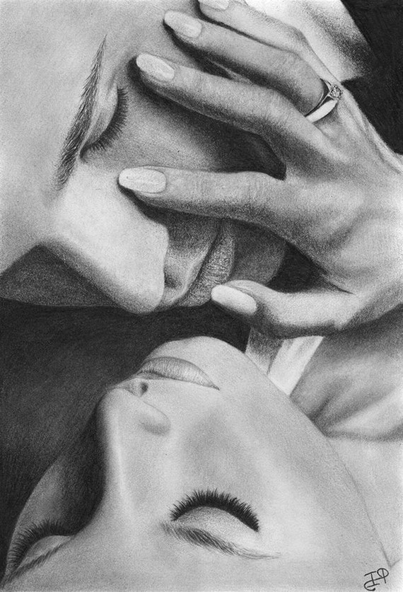 Love couple romance original pencil drawing portrait graphite