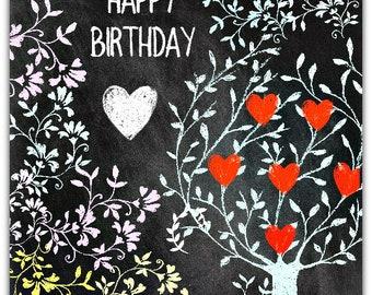 Happy Birthday greeting card tree hearts 15cm x 15cm