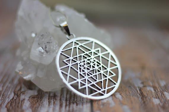 SHRI YATRI NECKLACE -Mandala- Sacred Geometry -Mandala -Spiritual Jewelry -Statement Necklace -Silver Jewellery- Tribal -Gypsy -Meditation