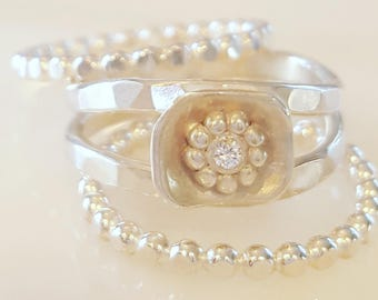 Stack Rings with Flower