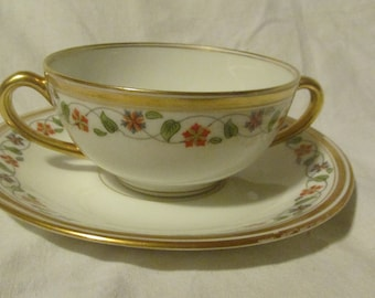 Double Handle Teacup And Saucer Bawo and Dotter Elite Works Limoges France Bouillon Cup Floral Vine Gold Trim Dulin & Martin 1930s A