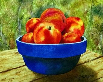 Picnic Peaches - Watercolor print