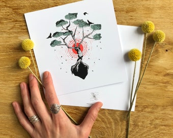 postcard art print // nature lover gift // nature print // mini print // tree of life art